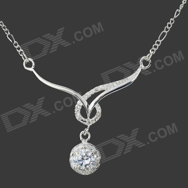Simple Elegant Shiny Crystal Inlaid Pendant 925 Silver Plated Necklace - Silver