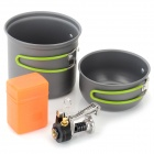 DS-101 Outdoor Double Cooking Pots + E-lighter Mini Stove Set w/ Foldable Handle - Black + Silver