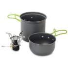DS-101 Outdoor Double Cooking Set w/ Foldable Handle - Black + Silver