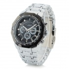 Men's Fashionable Analog Quartz Wristwatch - Black + Silver (1 x CR1220)