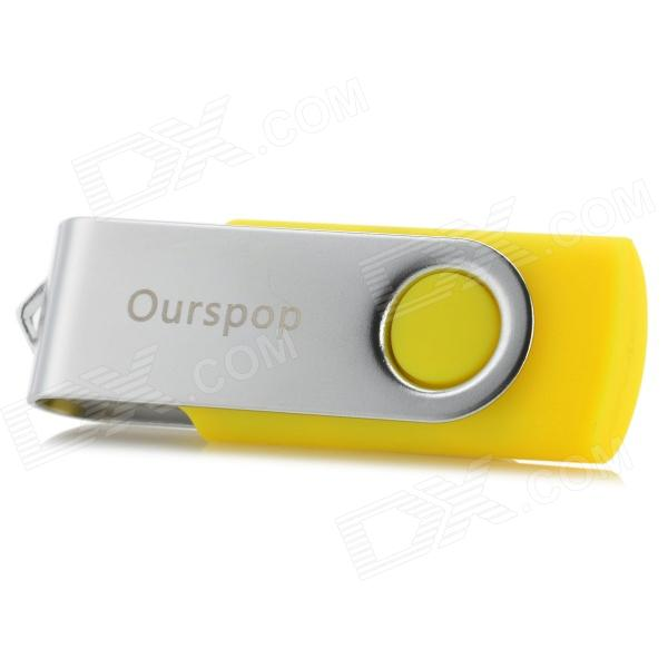 Ourspop U016 Swivel USB 2.0 Flash Drive w/ Indicator - Yellow + Silver (16GB)