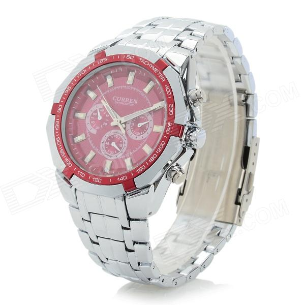 Men's Fashionable Analog Quartz Wristwatch - Red + Silver (1 x CR1220) keyyou without blade 2 buttons car key shell remote fob cover case for renault dacia modus clio 3 twingo kangoo 2 with logo