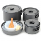 Buy DS-500 Multi-functional Portable 4~5 Persons Outdoor Camping Pots Set Foldable Handle - Ash Black