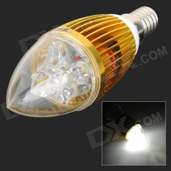 JRLED E14 5W 400lm 6500K 5-LED White Light Bulb - White + Golden (AC 85~265V)