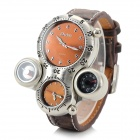 Men's Cool 2-Time Zone Analog Quartz Wristwatch w/ Thermometer + Compass - Brown (1 x CR1220)