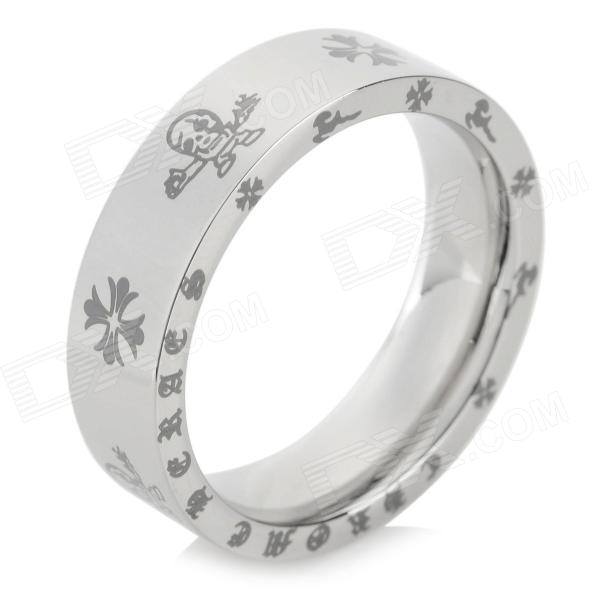 Universal Stylish Skull + Flower Pattern 316L Stainless Steel Couple Ring - Silver (US size:8)