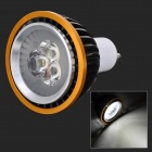 GU10 6W 600lm 3-LED Cold White Light Bulb - Black + White (AC 85~265V)