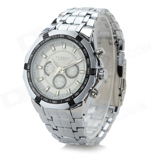 Men's Fashionable Analog Quartz Wristwatch - White + Silver (1 x CR1220) l 10 women s stylish petals style bracelet quartz analog wristwatch golden white 1 x lr626
