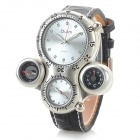 Men's Cool 2-Time Zone Analog Quartz Wristwatch w/ Thermometer + Compass - White (1 x CR1220)
