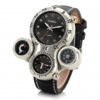 Men's Cool 2-Time Zone Analog Quartz Wristwatch w/ Thermometer + Compass - Black (1 x CR1220)