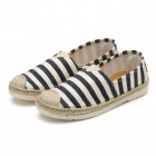 Women's Casual Stripe Pattern Canvas Shoes - Deep Blue + White (EUR Size 39)