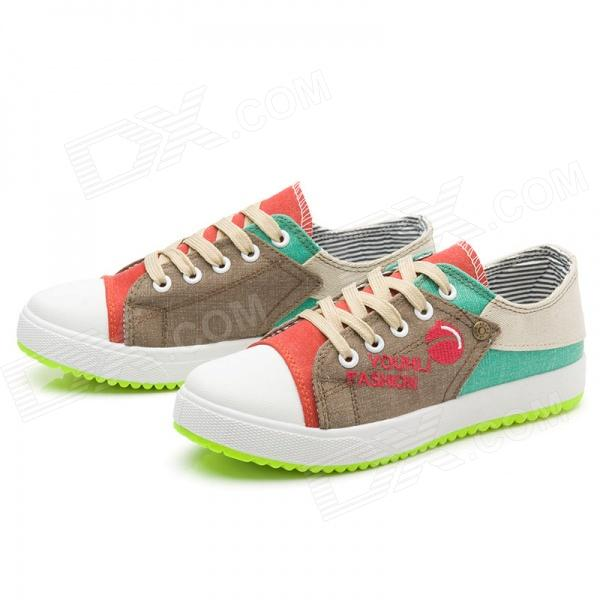 Women's Casual Canvas Front Shoelace Shoes - Red + Beige + Multi-Colored (EUR Size 40)