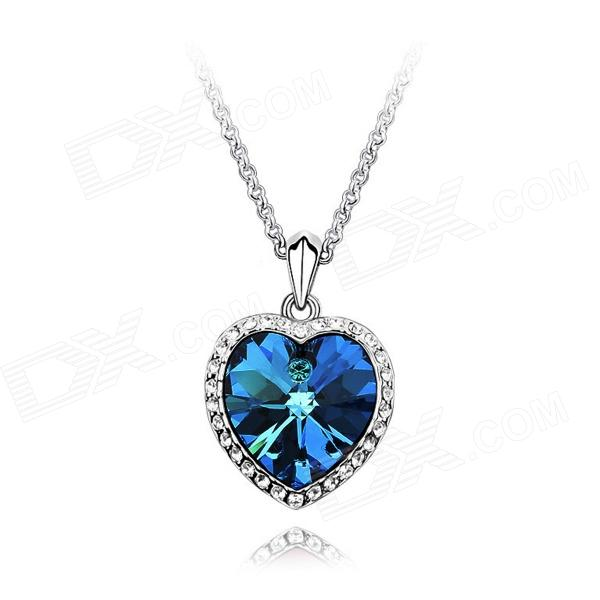 Angibabe Women's Elegant Aritificial Crystal Pendant Necklace - Sapphire Blue + Silver