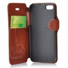 Printing Pattern Protective PU + PC Case w/ Auto-Sleep / Stand for IPHONE 5 / 5S - Brown