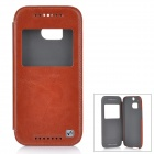 HOCO HT-L014 Protective PU + PC Case w/ Auto-Sleep / Window for HTC One M8 - Brown