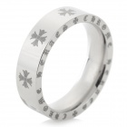 Stylish Flower Pattern 316L Stainless Steel Couple Ring - Silver White + Black (US Size: 9)