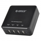 ORICO DCE-4U Universal 4-port USB Output US Plug Charger for Cellphone + More - Black