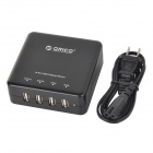 ORICO DCE-4U Universal 4-port USB Output US Plugs Charger for Cellphone + More - Black