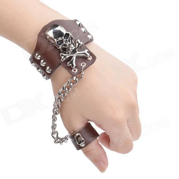 Fashionable Skull Style Split Leather Bracelet w/ Ring - Brown + Silver fashion cupid ornament split leather bracelet coffee brown multi color