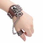 Fashionable Skull Style Split Leather Bracelet w/ Ring - Brown + Silver
