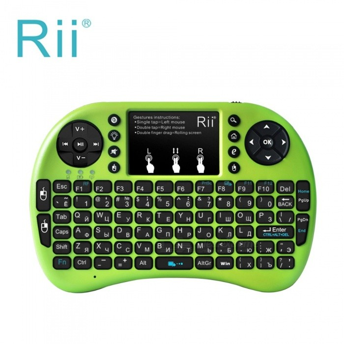 Rii RT-MWK08+ Mini USB 2.0 2.4GHz Wireless 92-Key Touch Keyboard w/ Air Mouse - Green