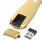 ZAP ZAP-CPM 2.4G USB 2.0 Wireless Laser Pen Mouse w/ Receiver + Charging Cable - Golden