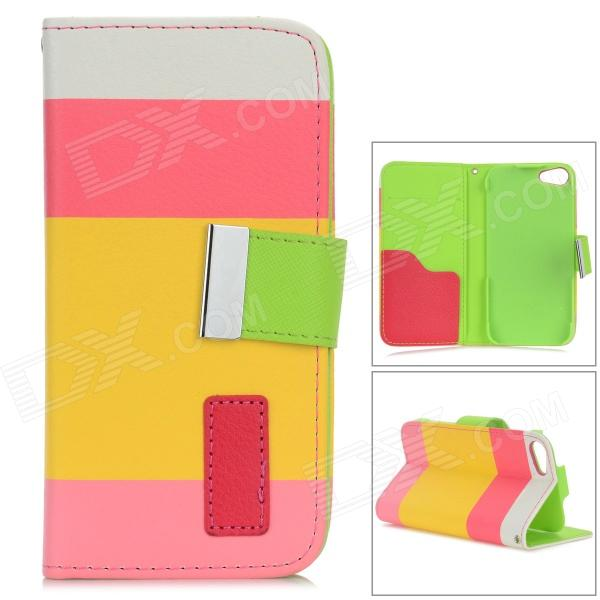 Rainbow Pattern Protective Flip-Open PU Leather Case w/ Stand for IPHONE 5 / 5S - White + Yellow cake biscuit style protective flip open pu leather case w stand for iphone 4 4s white pink
