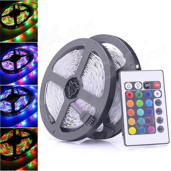 24W 300-SMD 3528 RGB LED Flexible Strip Light Lamp w/ Remote Controller (5m / 2 PCS) jr smd3528 60 w 24w 6500k 1200lm 300 smd 3528 led white flexible lamp strip 12v 5m