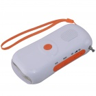 3-in-1 6-LED Solar Powered Charger / Flashlight / FM Radio - White + Orange