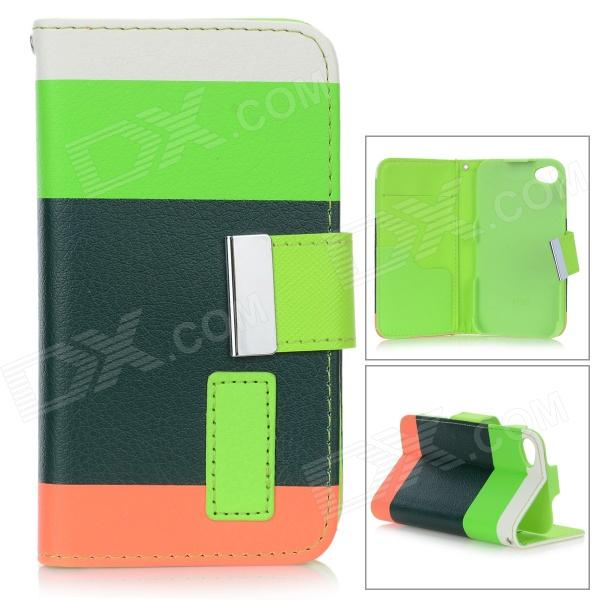 Rainbow Pattern Protective Flip-Open PU Leather Case w/ Stand for IPHONE 4 / 4S - White + Reed Green protective pu leather flip open case for iphone 4 4s black