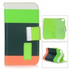 Rainbow Pattern Protective Flip-Open PU Leather Case w/ Stand for IPHONE 4 / 4S - White + Reed Green