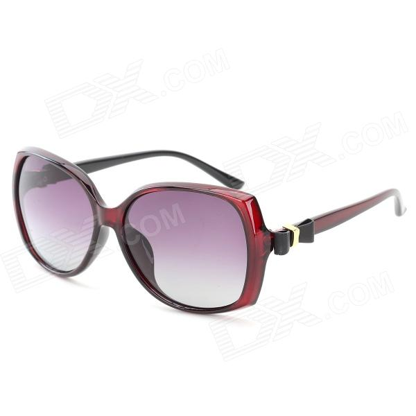 OREKA 2011 Women's UV400 Protection PC Frame Resin Lens Polarized Sunglasses - Claret Red + Grey fashion uv400 protection round shape resin lens sunglasses wine red