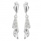 Women's Stylish Rhinestones Studded Dangle Earrings - Silver (2 PCS)