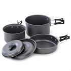 Portable 1~2 Person Outdoor Camping Cooking Aluminium Alloy Pot Set - Dark Grey