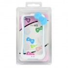 A100 Protective Silicone Bumper Frame w/ Bow for IPHONE 4 / 4S - White + Blue