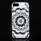 A100 Lace Bow Pattern Protective Plastic Back Case for IPHONE 5 / 5S - White + Black