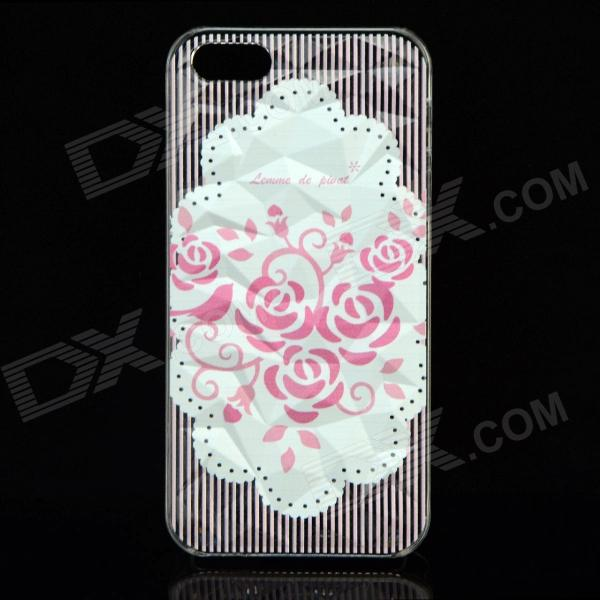 Фото A100 Roses Pattern Protective Plastic Back Case for IPHONE 5 / 5S - Transparent + White a100 happy valentine s day pattern protective plastic back case for iphone 5 5s transparent