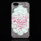 A100 Roses Pattern Protective Plastic Back Case for IPHONE 5 / 5S - Transparent + White
