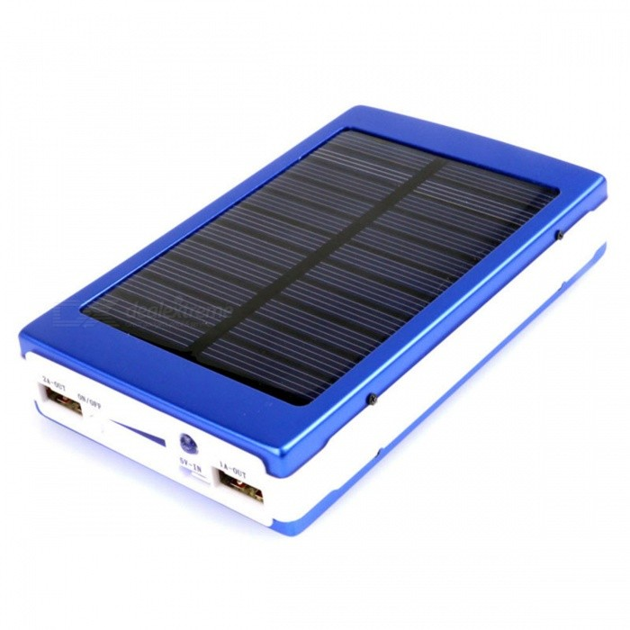 Universal Dual-USB 16000mAh Solar Energy Powered Li-polymer Battery Power Source Bank - Blue universal 20000mah portable li polymer battery dual usb power bank green silver