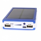 Universal Dual-USB 16000mAh Solar Energy Powered Li-polymer Battery Power Source Bank - Blue