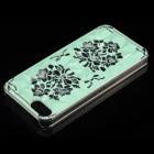 Peony Pattern Protective Plastic Back Case for IPHONE 5 / 5S - Light Green + Black