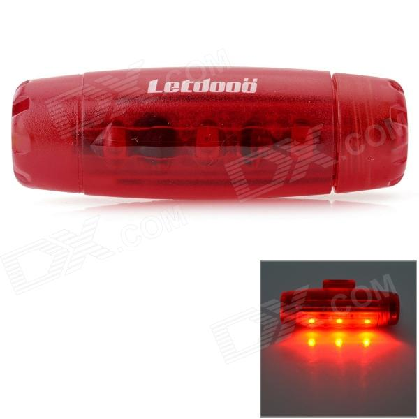 Letdooo Bullet Style 3-LED Red Light 3-Mode Bike Tail Lamp - Red (1 x AAA)