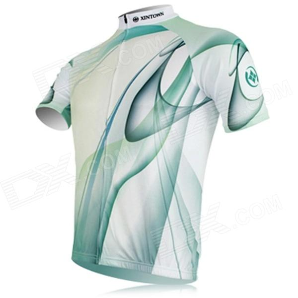 XINTOWN Outdoor Cycling Polyester Short-Sleeve Jersey - Green + White (L)
