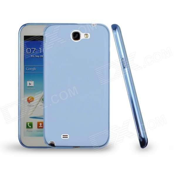 Angibabe Jelly TPU Soft Back Case for Samsung Galaxy Note 2 N7100 - Translucent Blue protective plastic back case for samsung galaxy note 2 n7100 translucent white