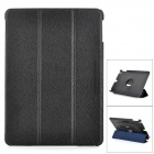 Protective Flip Open PU Leather + PC Case w/ Stand / Hand Strap for IPAD AIR - Black