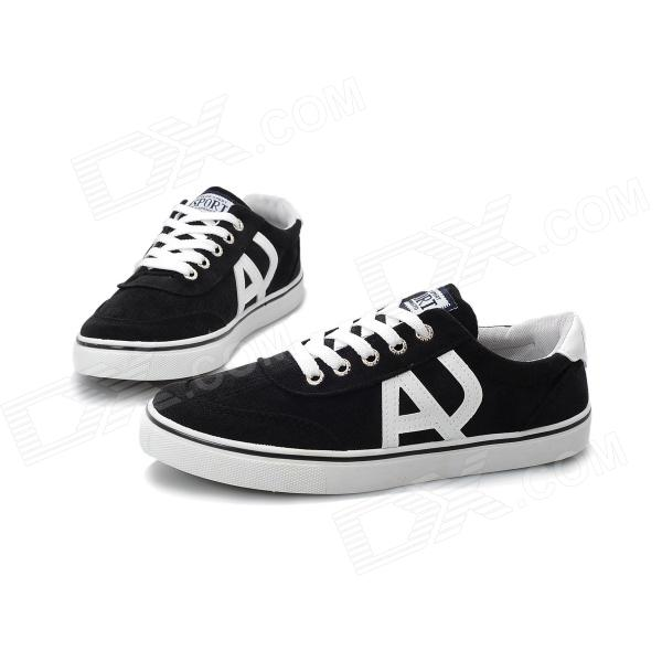Men's Stylish Casual Shoes - Black + White (EUR Size 42) casual waterproof boot silicone shoes cover w reflective tape for men black eur size 44 pair
