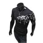 Wolf Pattern Round Neck Short Sleeves Cotton T-Shirt for Men - Black (Size M)