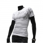 Wolf Pattern Round Neck Short Sleeves Slim Cotton T-Shirt for Men - White (Size L)