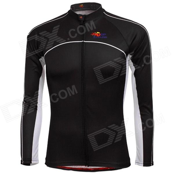 TOP CYCLING SAE121 Outdoor Cycling Polyester Long-sleeve Jersey for Men - Black (L) arsuxeo ar608s quick drying cycling polyester jersey for men fluorescent green black l