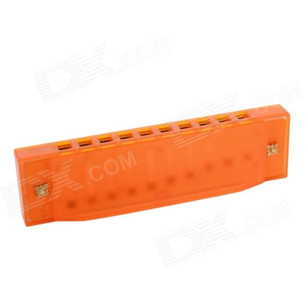 Children's Mini Portable 10-Hole Harmonica w/ Protective Case - Orange